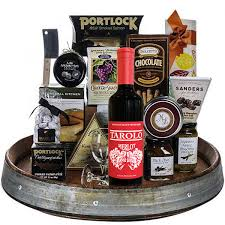 wine and chocolate gift basket wine barrel gourmet lazy susan tray gourmet gift baskets for all