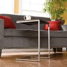 small sofa side table living room chrome metal c shape small sofa side table with brown