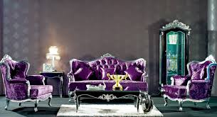Living Room With Purple Sofa European Style Refined Wood Carved Decorative Purple Sofa Set