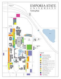 Usa Campus Map by Parking Map Campus Map Emporia State University