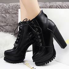 ladies ankle motorcycle boots brand ladies 13cm black leather platform chunky high heel ankle