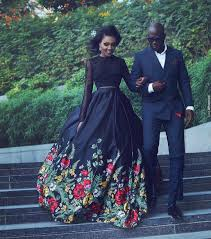 Classy Clothes For Ladies Black Embroidery Prom Dress Two Pieces Long Sleeve Prom Dress