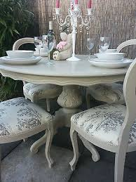 shabby chic cream dining table and chairs 4065
