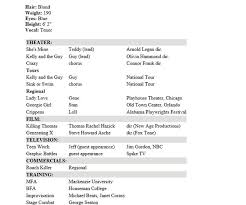 Musical Theater Resume Sample by 10 Acting Resume Templates Free Word Pdf