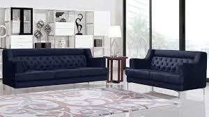 Zara Sofa Bed Zara Fabric Tufted Sofa With Chrome Legs Navy Blue Zuri Furniture