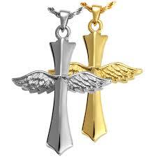 crematory jewelry winged cross pet cremation jewelry