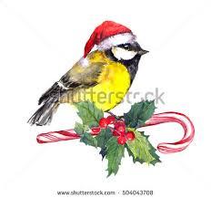 mistletoe hat christmas bird santa hat stock illustration 504043708