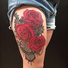 best 25 lace thigh tattoos ideas on pinterest blue rose tattoos