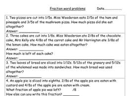fractions word problems year 3 by hannahw2 teaching resources