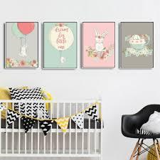 toile chambre bébé décoration poster toile lapin fleurs trendisy décoration