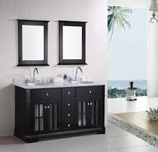 bathroom high quality wooden double sink vanity with black bowl