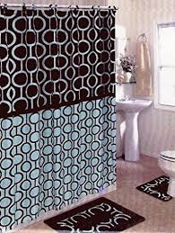 amazon com brown u0026 blue 15 piece bathroom set bath rugs shower