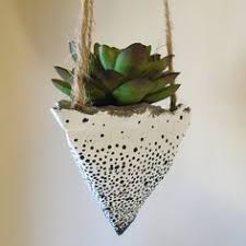 Hanging Succulent Planter by 3 Hanging Concrete Succulent Pyramid Planters Hand Painted White