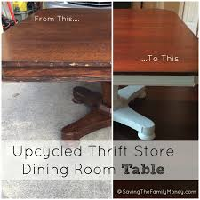 upcycled thrift store dining room table saving the family money
