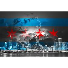 Chicagos Flag Black U0026 White Stormy Chicago Flag Skyline Wall Graphic U2013 Zapwalls