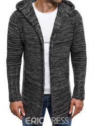 mens cardigan sweater ericdress hooded mid length s cardigan sweater