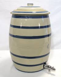 antique water beer cooler white cobalt blue stripe stoneware crock