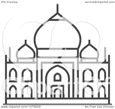 clipart of a grayscale taj mahal royalty free vector