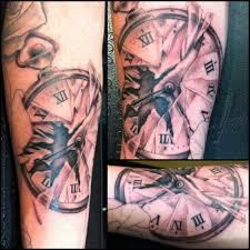 coolest 3d broken clock tattoo made on back leg tattoobite com
