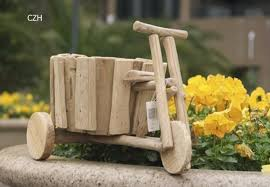 handmade tricycle model flower pot decorative wood jardiniere