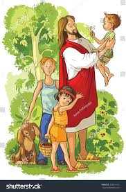 jesus children available coloring book version stock vector