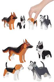 dogs paper toys diy paper craft kit 3d paper animals by pukaca