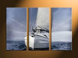 3 piece grey ocean ship multi panel art