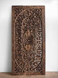 Carved Wooden Headboards Balinese Bed Headboard Teak Carved Wood Wall Art Hanging