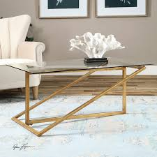 Glass Rectangle Coffee Table Uttermost Zerrin Antique Gold Glass Coffee Table On Sale