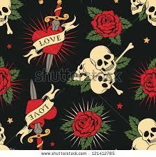 skull roses vector
