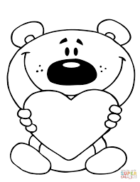 teddy bear holding a red heart coloring page free printable