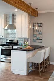 invigorating bay window breakfast bar along with brick backsplash