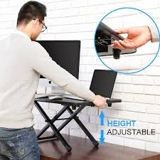 office desk with adjustable keyboard tray standing desk height adjustable sit to stand monitor desk with