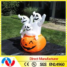 Halloween Bucket 2015 Wholesale Cheap Toy Orange Color Lighted Inflatable Pumpkin