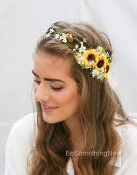 sunflower headband sunflower flower crown with green leaves and babies breath yellow