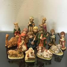 vintage nativity figurines creative flowers 16 pc set