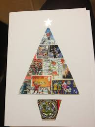 christmas card made from old christmas postage stamps tree