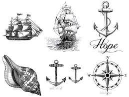 temporary set of 7 nautical tattoos or 2 75 x