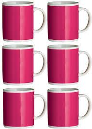 set of 6 pink funky mugs amazon co uk kitchen u0026 home