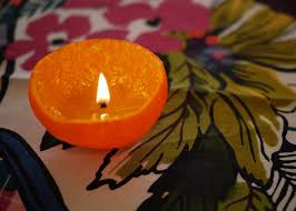 diy candle centerpieces made of citrus fruits simple table