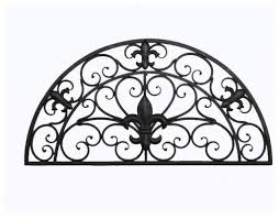 tuscan indoor outdoor semi circle fleur de lis wrought iron wall