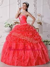 coral pink quinceanera dresses coral gown strapless floor length organza embroidery with