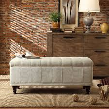 Tufted Storage Bench Oxford Creek Contemporary Haslett Lift Top Cream Fabric Tufted
