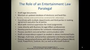 the role of the entertainment law paralegal youtube
