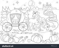 Cinderella Fairy Tale Coloring Book Children Stock Vector
