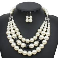 wholesale pearls necklace images Wholesale 2018 new style pearl jewelry set imitation pearls bead jpg