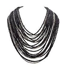 multi strand necklace images Buy zephyrr tibetan black alloy multi strand necklace silver tone jpg