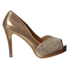 shoekandi diamante encrusted peep toe mid heel party shoe gold