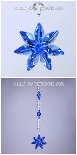 beautiful swarovski crystal sapphire blue flower suncatcher rear