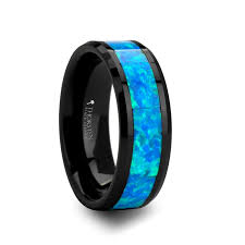 mens blue wedding bands poseidon men s black ceramic wedding band with blue opal inlay